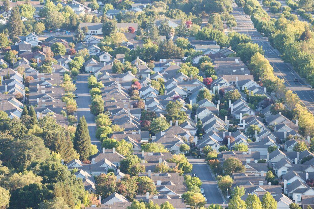 Suburban neighborhood from an aerial view